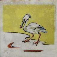 Spoonbill Dunsmore Tiles Polly Brace c1930 Minton Blank