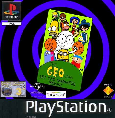 File:The Geo Team - Let the Madness Begin! PS1 PAL cover art.png