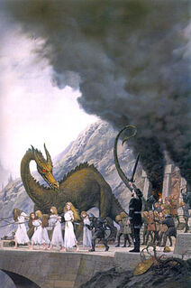 Ted Nasmith - Finduilas is Led Past Túrin at the Sack of Nargothrond