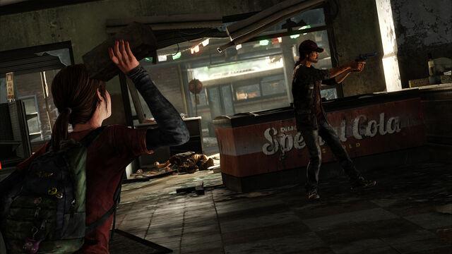 Archivo:Ellie about to throw a brick at survivor.jpg