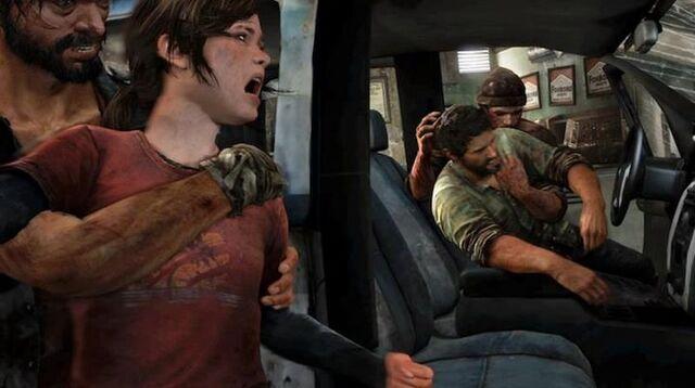 Archivo:Joel and Ellie getting Kidnapped.jpg