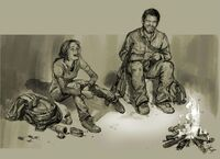 Drawing of ellie and joel near fire laughing