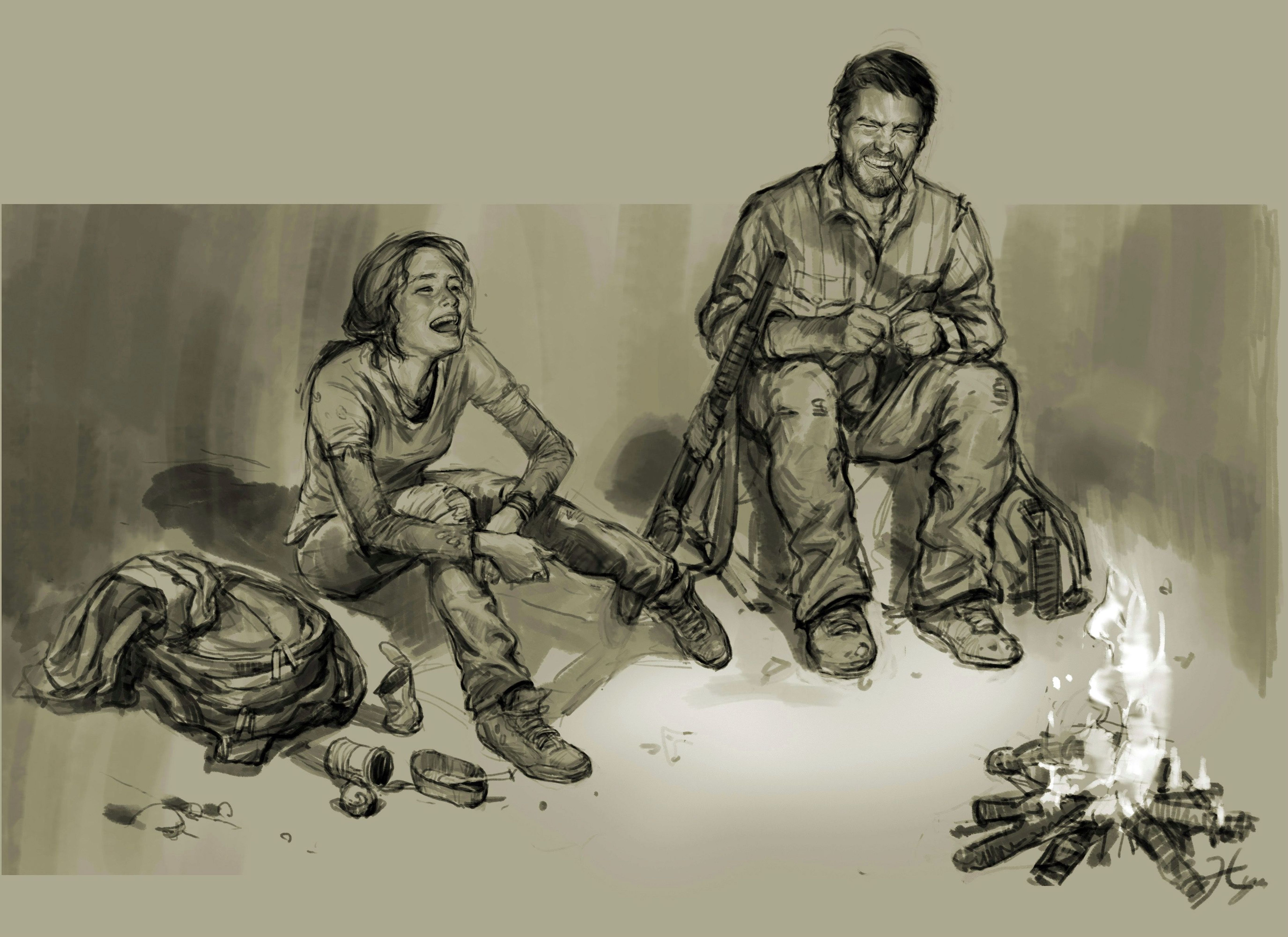 File:Drawing of ellie and joel near fire laughing.jpg