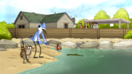 S5E36.060 Mordecai and Rigby Feeding the Crocodile