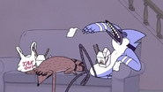 S7E11.027 Mordecai and Rigby Sleeping with Chinese Food