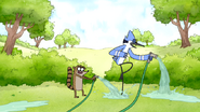 S6E06.002 Rigby Spraying Mordecai with Water