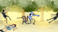 S4E13.156 Mordecai and Rigby Punching Two Scythe Guards
