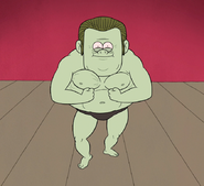 S5E11.130 Full View of Muscle Man's Crab Pose