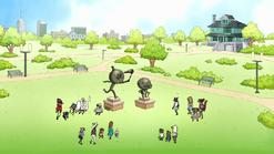 S8E27EP.040 Everyone Gathering by the Maellard Statues