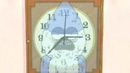 S3E25 Mordecai's reflection in the clock