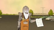 S6E23.146 Eggscellent Knight Holding a Customer-Satisfaction Survey