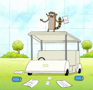 S7E36.127 Rigby Giving His Speech on the Cart