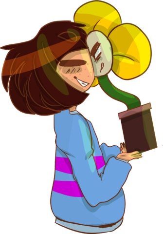 File:Frisk and sata i mean flowey by chillgoat-d9i9y8r.png
