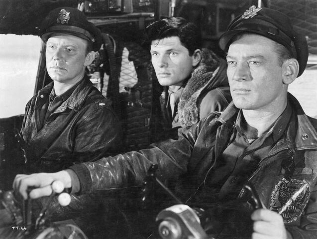 File:Hendry, Dykes and Bob in the cockpit - The Thing (1951).jpg