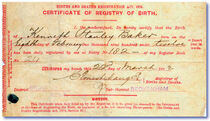 1912 Birth Certificate Ken Baker