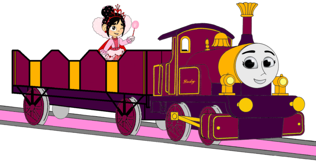 File:Lady with her Open-Topped Carriage & Vanellope travelling on it.png
