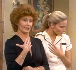 Sally Kemp as Mrs. Latham with Terri
