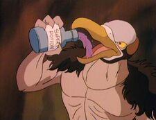 Vultureman drinks his super power potion