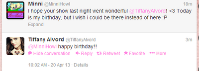 Tiffany wishing me happy birthday