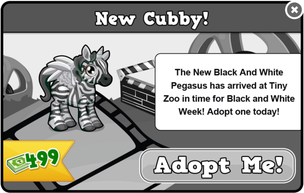 Cubby pegasus black and white modal