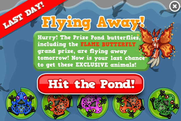 Flame butterfly prize pond modal