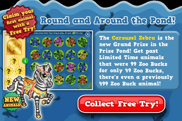 Prize pond carousel zebra modal