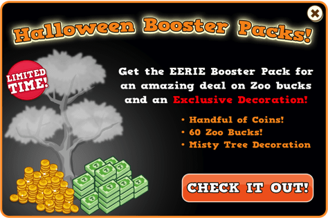 Booster pack misty tree modal