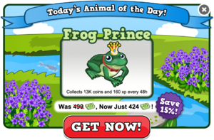 Frog prince of the day modal