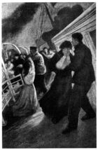 Illustration of a weeping woman being comforted by a man on the sloping deck of a ship. In the background men are loading other women into a lifeboat.