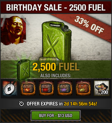 5th Birthday Sale - 2500 fuel