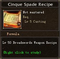 Cinque Spade Recipe