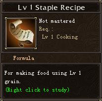 Lv 1 Staple Recipe