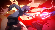 Shuu defending against Touka's attack