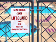 A Life Less Guarded - Now Hiring One Lifeguard sign