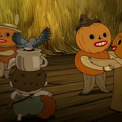 Dancing pumpkins, plus Greg.