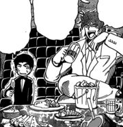 Toriko and Komatsu eating in the limousine
