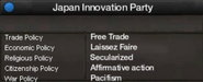 Japan Innovation Party views