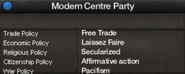 Modern Center Party views