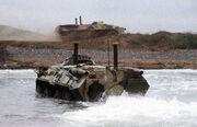 BTR-70 coming ashore