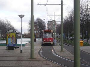 Eindpunt Station Voorburg met GTL II 3143 als lijn 10.JPG