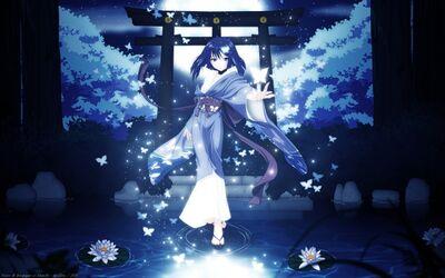 Water dress flowers blue eyes blue hair torii japanese clothes anime girls akai ito hatou yumei 2 wallpaperswa.com 87