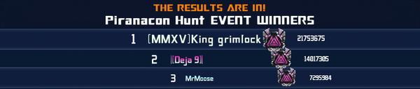 Event Piranacon Hunt Solo Winner