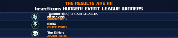 Event Insecticons HUNGER League Winner