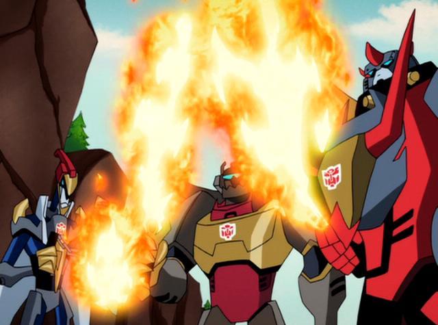 File:TFA Dinobots fire weapons.JPG