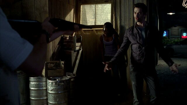 File:3x09 -franklin notes a shotgun won't do anything to him, with traditional rounds that is.jpg