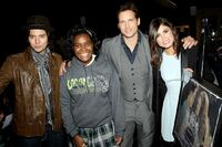 Jackson Rathbone, Peter Facinelli and Nikki Reed with the Ultimate Fan Contest winner