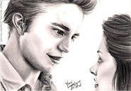 R Pattinson et K Stewart by crayon2papier