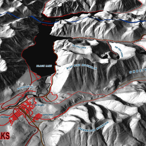 Map of Twin Peaks paying homage to David Lynch's original concept map and the map of Twin Peaks that appears on the Sheriff Department's chalkboard in many episodes. Some aspects, like the relative location of Glastonbury Grove, were taken from the Owl Cave map.
