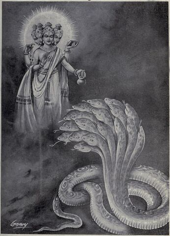 File:800px-Brahma give boon to Shesha and order to bear the Prthvi or Earth.jpg