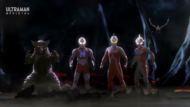 File:Ultraman, Ultraseven, Mebius, and Gomora Mega Battle.png